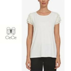 CeCe Tops - CeCe | White Flower Applique Short Sleeve Blouse